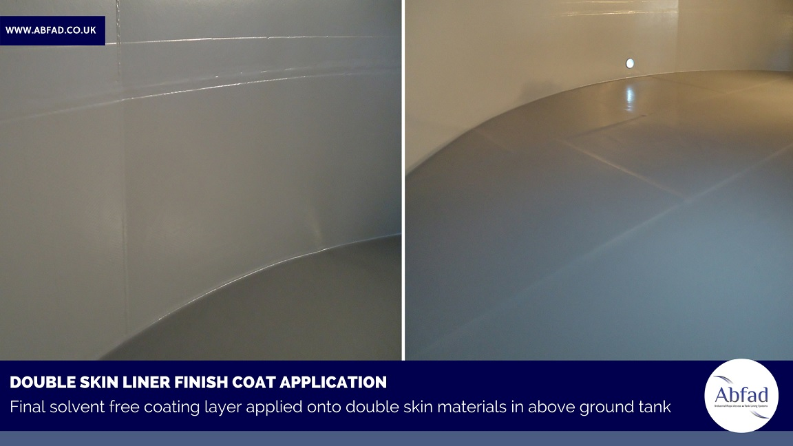 Double skin liner installed in above ground storage tank