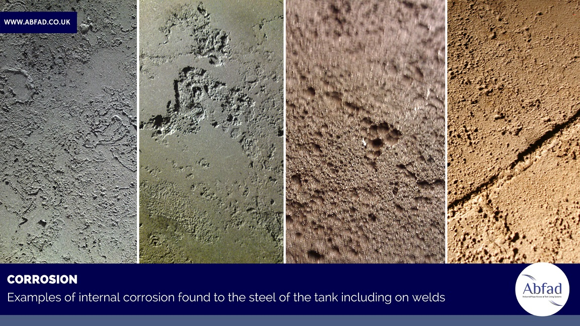 Corrosion examples found in storage tanks