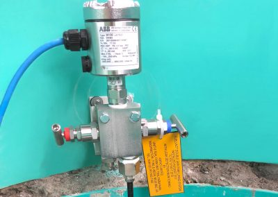 Transducer in underground tank chamber
